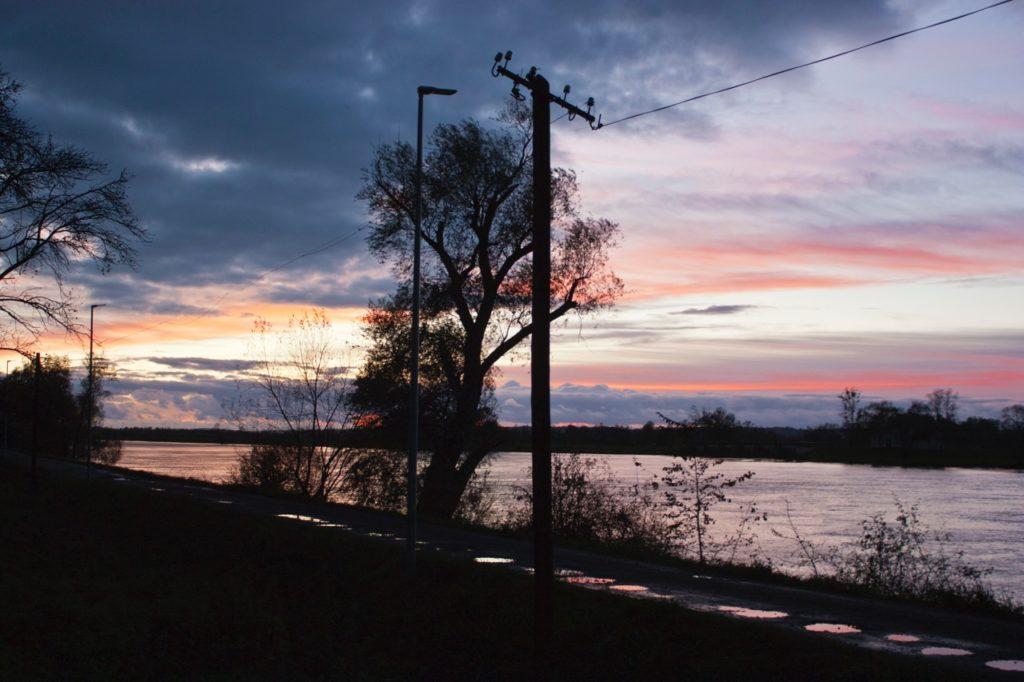 Sunset at river Odra
